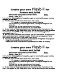 Romeo & Juliet: Create  your own Playbill activity