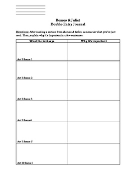 Romeo & Juliet Double-Entry Journal