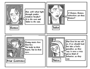 Romeo & Juliet Elizabethan Tea Party Character Cards! Introductory Activity