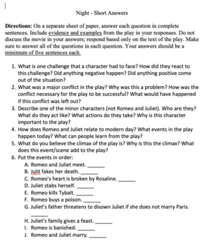 Romeo & Juliet FINAL TEST Assessment -46 Questions 4 Pages w/  4 pg ANSWER KEY