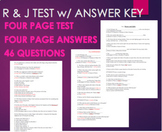 Romeo & Juliet FINAL TEST Assessment -46 Qs w/ ANSWER KEY