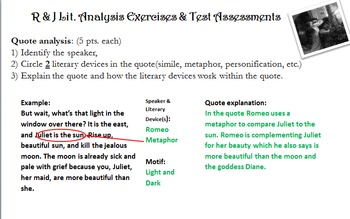 Romeo & Juliet Lit. Analysis Exercises & Test Assessments