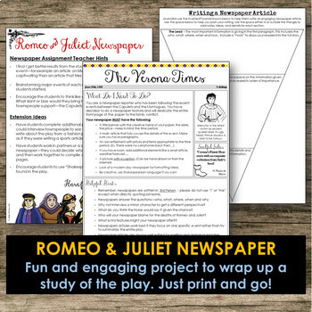 Romeo And Juliet Newspaper By Addie Williams Teachers