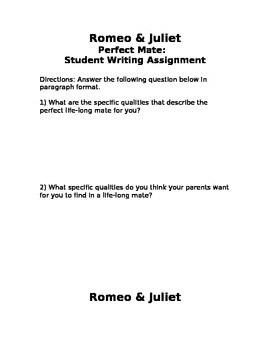 Romeo & Juliet - Perfect Mate Student and Parent Activity