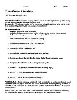 Romeo & Juliet - Personification and Wordplay (worksheet & scavenger hunt)