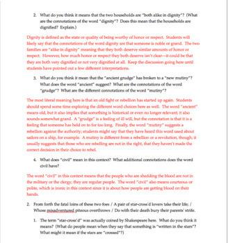 Romeo & Juliet Prologue: Close Reading | Romeo & Juliet Introduction Activities