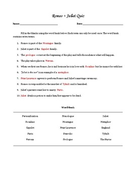 Romeo & Juliet Quiz (Easy) - 10 Questions