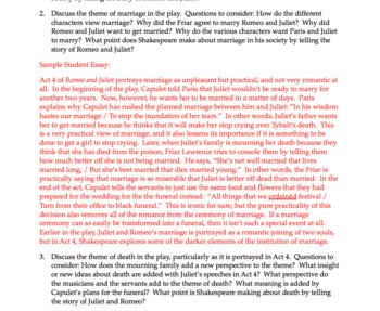 Romeo & Juliet Quiz Act 4   Romeo & Juliet Act 4 Quiz   Essay Questions