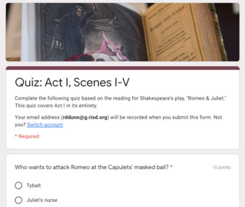Romeo & Juliet: Reading Quizzes for Acts I-V
