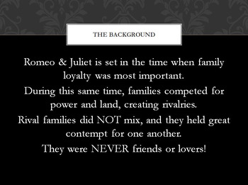 Romeo & Juliet Shakespeare Introduction Family Shields Activity