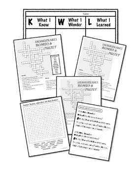 Romeo & Juliet Study Aids (Shakespeare) - Crossword, word search, KWL Chart