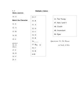 Romeo & Juliet Test (exam William Shakespeare) W/ ANSWER KEY