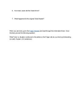 Romeo & Juliet: The Globe and Shakespeare Intro Webquest