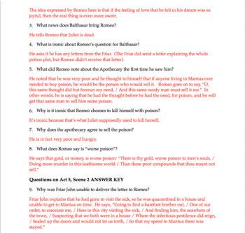 Romeo & Juliet Unit Plan | Romeo & Juliet Activities | Quizzes, Questions, Test