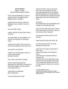 Romeo & Juliet Unit Reading #8