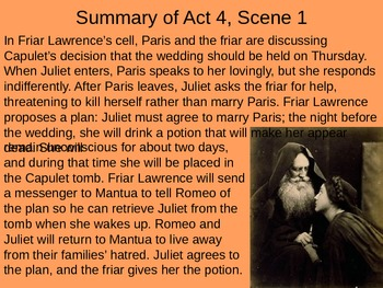 Romeo & Juliet: Act IV Vocabulary & Scene Summaries