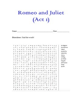 Romeo & Juliet Word Search (Act 1)