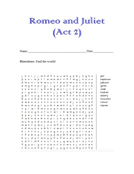 Romeo & Juliet Word Search (Act 2)
