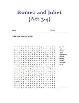 Romeo & Juliet Word Search (Act 3-4)