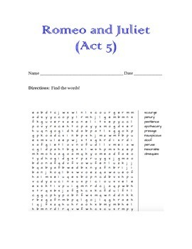 Romeo & Juliet Word Search (Act 5)