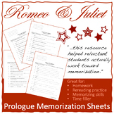 Romeo & Juliet prologue memorization sheets