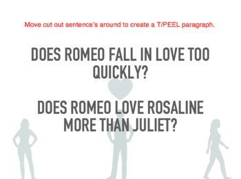 Romeo & Juliette In-class Exam TEEL/PEEL Introductions- LOVE EXAMPLES