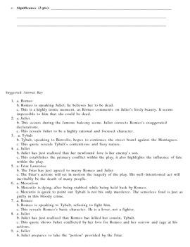 Romeo and Juilet: Quote Identification & Analysis