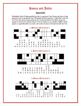 Romeo and Juliet: 10 Quotefall Puzzles—A Good Spelling Workout!