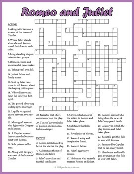 Romeo and Juliet Crossword Puzzle