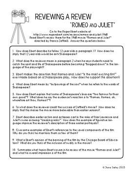 Romeo and Juliet Movie Activity