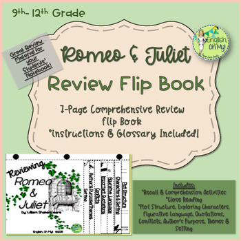 Romeo and Juliet-Reviewing Characters, Plot, Conflicts-{Flip Book}
