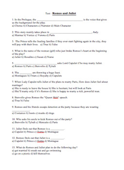Romeo and Juliet 5 Quiz Bundle Pack and Test Assessment for Play Act 1,2,3