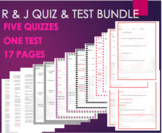 Romeo and Juliet 5 Quiz Bundle Pack and Test Assessment fo