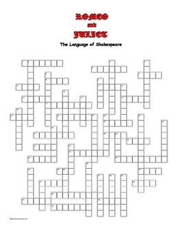 Romeo and Juliet: 50 Elizabethan Words/Phrases Crossword--Unique!