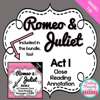 Romeo and Juliet Act 1 Close Reading Annotation