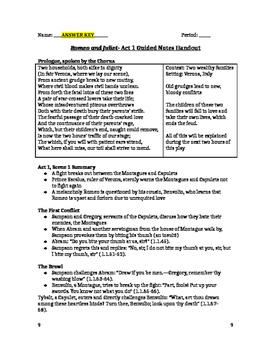 Romeo and Juliet- Act 1 Guided Notes Handout