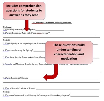 Romeo and Juliet Act 1 Vocabulary, Literary Terms, and Guided Reading Questions