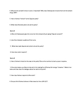 Romeo and Juliet Act 1 Questions