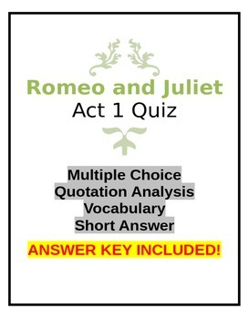 Romeo and Juliet Act 1 Quiz