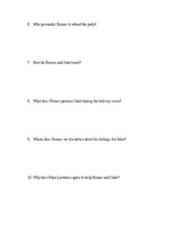 Romeo and Juliet - Act 1 Quiz - CCSS Aligned