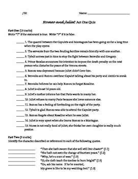 Romeo and Juliet Act 1 Quiz - Reading Comprehension and Pl