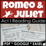 Romeo and Juliet Act 1 Reading Guide w/ Questions, Analysis in PDF & Digital