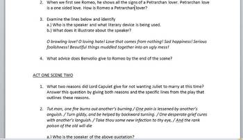 Romeo and Juliet Act 1 Scene 1-2 Questions