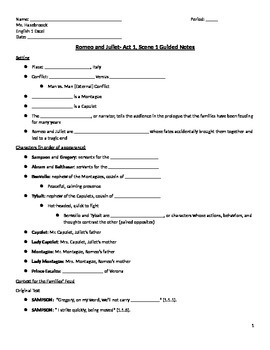 Romeo and Juliet- Act 1, Scene 1 Guided Notes Handout
