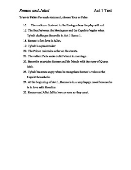 Romeo and Juliet Act 1 Test and Answer Key