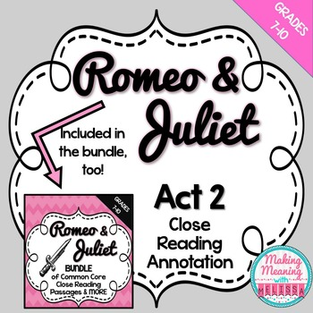 Romeo and Juliet Act 2 Close Reading Annotation