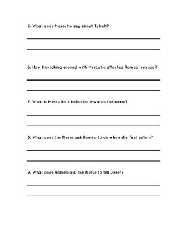 Romeo and Juliet Act 2 Comprehension Questions