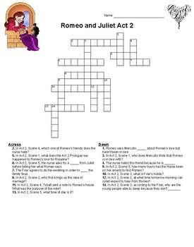 Romeo and Juliet Act 2 Crossword