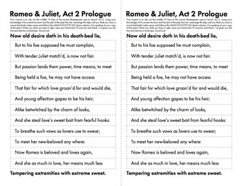 Romeo and Juliet Act 2 Prologue Fun, Hands-On Activity with Shakespeare's Play