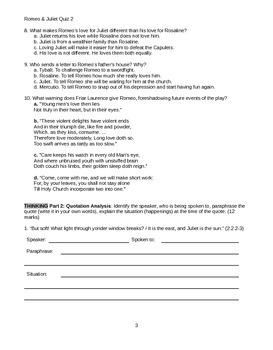 Romeo and Juliet Act 2 Quiz